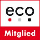 Webhosting Provider webgo verwendet für alle Server und Büros eco Strom - der Nachweis eco e.V. Logo