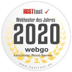 webgo Webhoster des Jahres 2020 Platz 3 in der Kategorie root Server