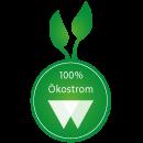 Webhosting Provider webgo GmbH verwendet 100 Prozent Oekostrom Logo Nachweis