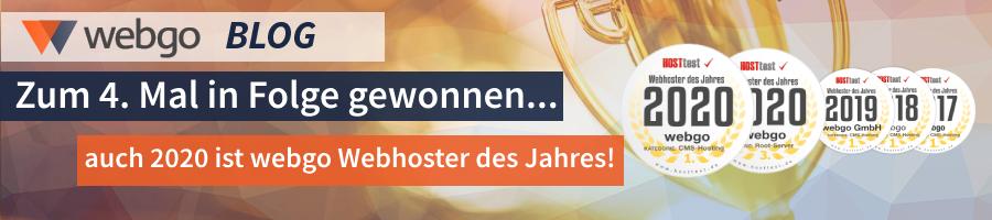 Webhoster des Jahres 2020 - Webhosting Titel zum 4. Mal in Folge gewonnen