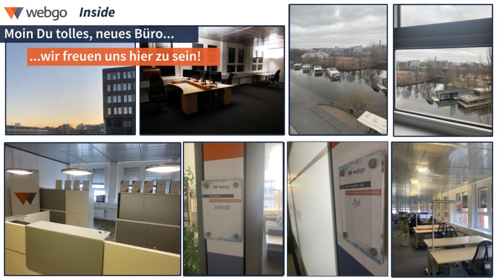 Collage vom neuen webgo Büro in unmittelbarer Nähe zu unserem Hamburger Rechenzentrum.