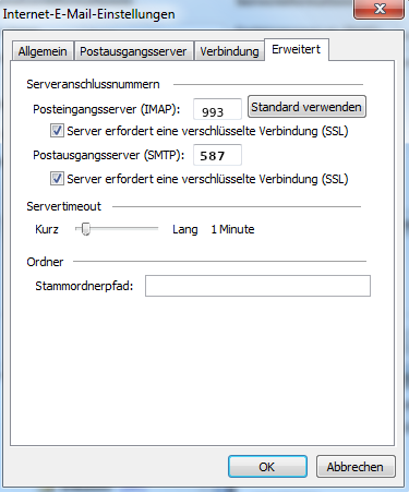 Outlook SSL Einstellungen