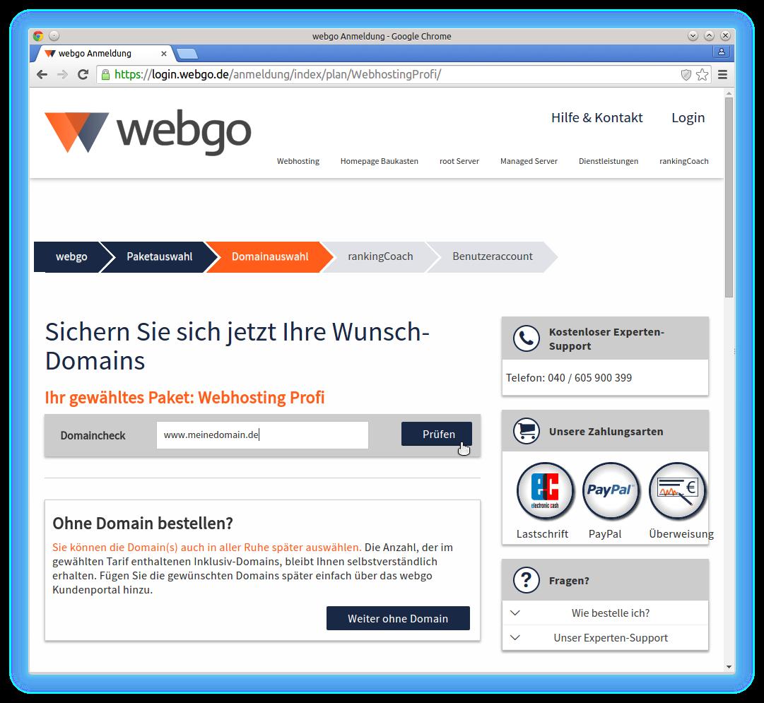 webgo anmeldung webhosting