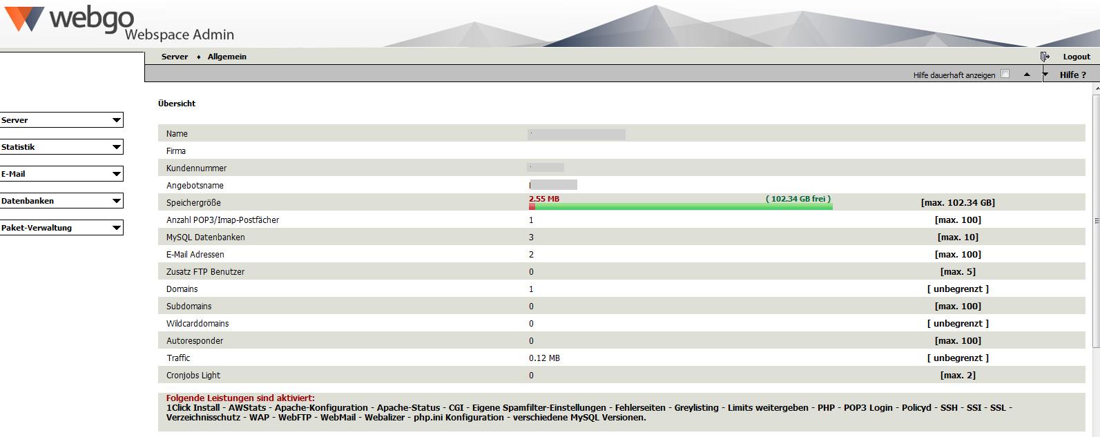 webgo Webspace Admin