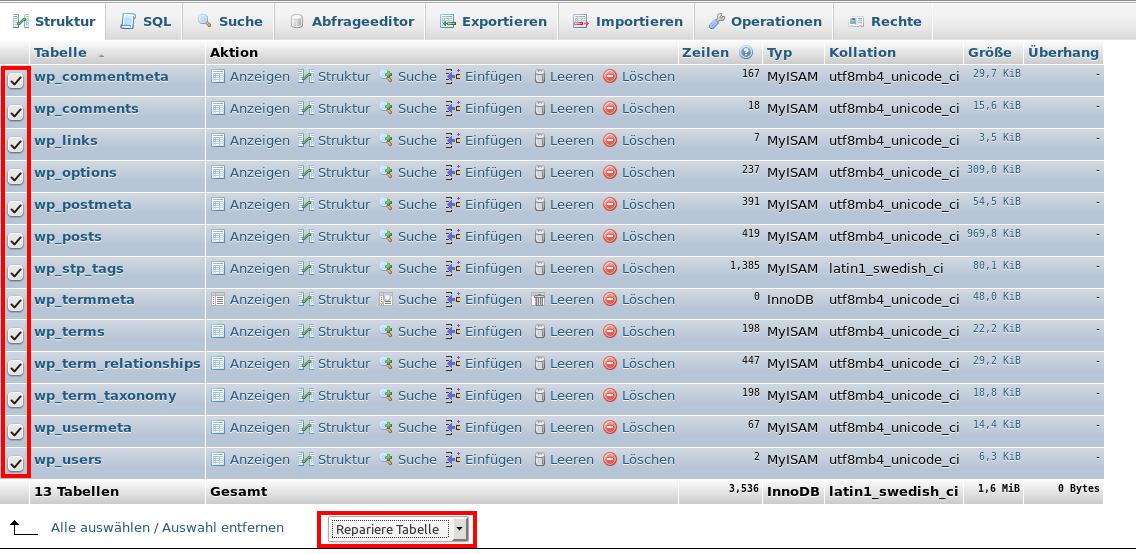 phpMyAdmin Datenbank reparieren